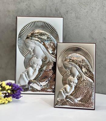 Срібна ікона Матір Божа з Ісусиком (код 4702/23) 14*23 см
