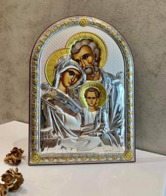 Срібна ікона Свята Родина (код 4708/27D) 20*27 см