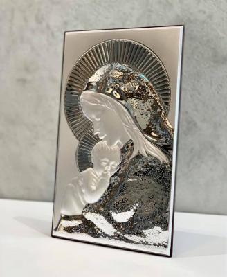 Срібна ікона Матір Божа з Ісусиком (код 4702/33) 20*33 см