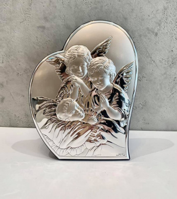"""Ікона срібна """"Ангели біля дитини"""" (15х19.5см) 81084 3L"""